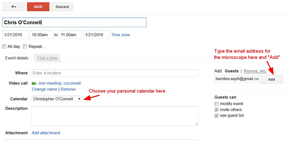 Instructions for Reserving Microscopes with Google Calendar